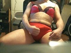 Rosa bras röd panty cum