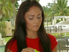 Ariana Marie is stretching her shaved hole