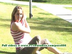 Sadie angelic blonde woman flashing tits and having fun