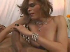Ebony guy drills tgirl with huge prick