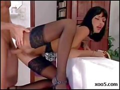 Dirty brunette maid Anita Blond cleans his cock and gets hammered
