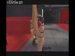 Girl is bound in dungeon