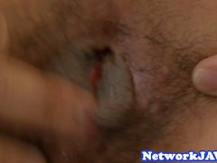 Hairy asian milf gets doggystyled hard