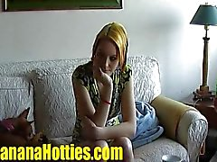Banana Casting with fresh shy teen Eva
