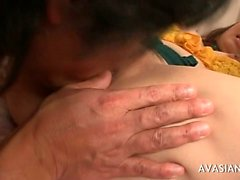 Extreme fisting for a horny hairy asian bitch