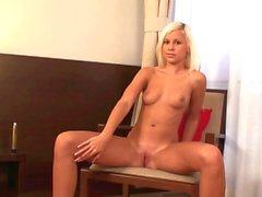Hot blonde toying around