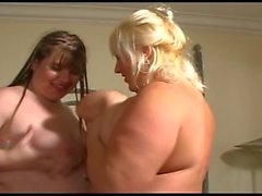 BBW lesbians kicking and fucking each other
