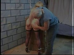 Blonde slut is released from trunk to have her pussy bound with ropes