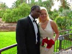 Bride e groom merda em seu dia grande