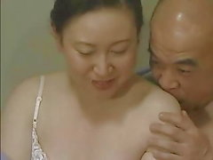 Japanese Tongue Kissing - Middle-Aged Couple Foreplay