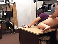 Brunette In Glasses Fucked And Taking Facial In Pawn Shop