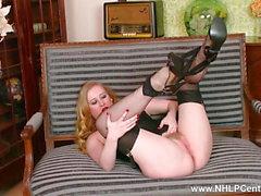Horny blonde wanking in vintage lingerie sheer nylons heels