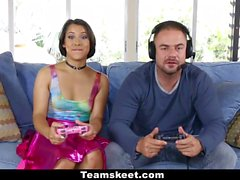 CFNMTeens Gamer Girl Humiliates Loser Friend