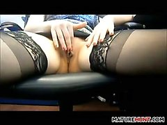 Mature Woman Maturbating In An Office