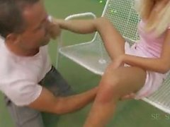 Pretty teen fucks her tennis coach