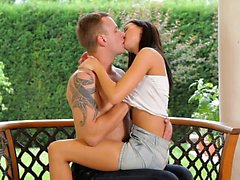 Super slender Leyla Peachbloom seduces her man for a