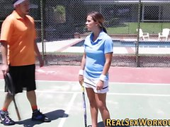 Tennis teen face cum soak