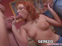 Hot redhead getting double permeated in sexy 3some