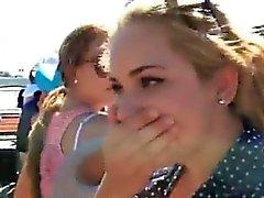 Stark Hübsches Hochschul Ex-Freundin Ansaugen Schwänze Ein Bus