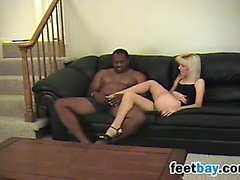 Blonde Chick Gives This BBC A Footjob