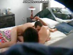Brunette girlfriend is sucking his cock and fucking on hidden cam
