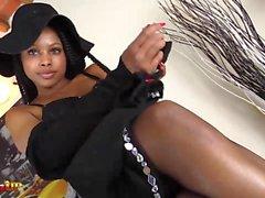 Ebony Girl footjob and masturbation in stockings