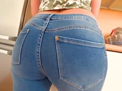 PAWG babe teases in jeans and fucks doggy style POV