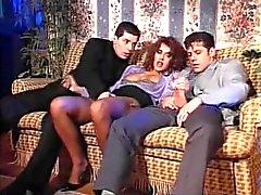Italian slut Andrea Valente vintage threesome & DP