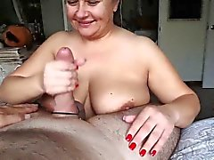 Busty mature BBW blowjob and boobjob
