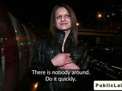 Brunette amateur ride big dick in public