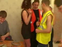 Elegant Milf propitiate a group of decorators Pt1