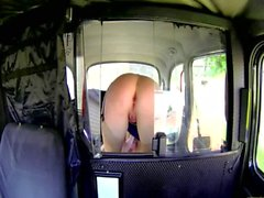 Dirty taxi driver jerks his cock off in front of a female customer