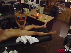 Asian babe gets banged by nasty pawn guy
