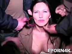 Slut brunette give blowjob group outdoor