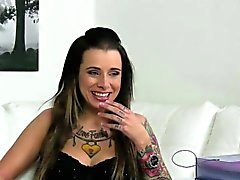 Tattooed casting beauty strapon drilled