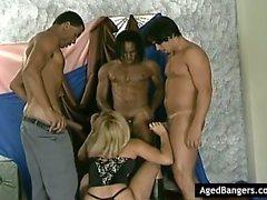 Hot blonde banged by three guys