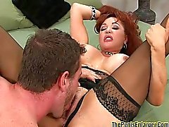 Redhead MILF sucks cock