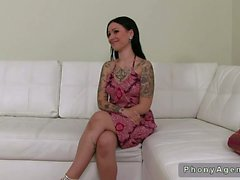 Tattooed milf giving blowjob and fucking on casting
