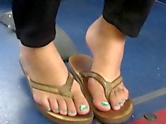 Candid Teen Feet in Flip Flops On The Bus
