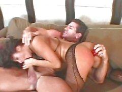 Raunchy Sandra Romain wraps her lips round a hard dick
