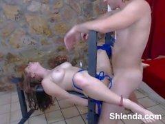Tied young skinny redhead schoolgirl. Hard sex