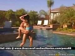 Sweet brunette slut outside in a pool gets her wet pussy and ass fucked