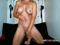 Sweet Busty Cammodel Fucks Massive Dildo