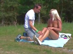 German Teen Seduce to Fuck Outdoor by Stranger Voyeur
