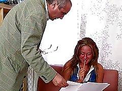 Gal pleasures her horny old master zealously