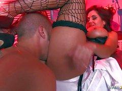 Busty dark haired Ava enjoys in hot sex