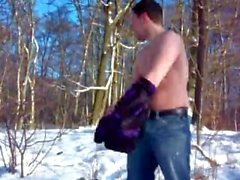 German Guy Masturbating in the Snow -- Deutscher Wichst im Schnee