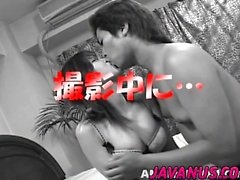 Asian babe gets pussy lick before giving head
