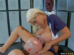 Big titted bimbo Bridgette B gets nailed in the locker room