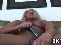 Muscular Bitch Masturbating